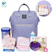 Deago Waterproof Backpack Mummy Bag Baby Water Feeding Bottle Portable Diaper Bag Computer Large Capacity Bag Orange Pink