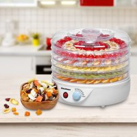 Excelvan 5 Tier 240W Electric Food Fruit Dehydrator, Food Preserver with Adjustable Temperature Control, White
