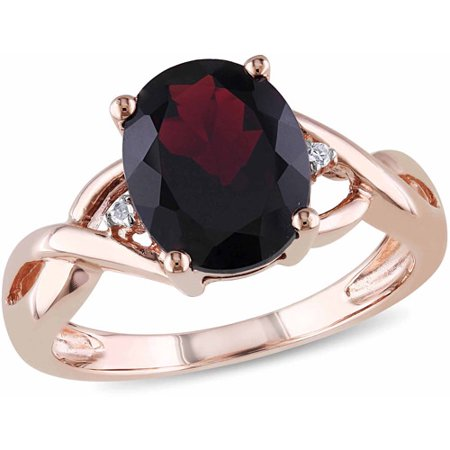 3 Carat T.G.W. Garnet and Diamond Accent 10kt Rose Gold Cocktail Ring
