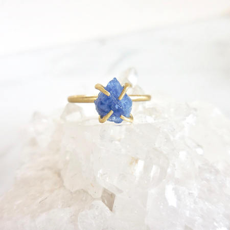 Handmade Prong Set 2 Carat Natural Rough Sapphire Solitaire Engagement Ring in 18k Gold Over -