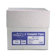 """Alliance Continuous Computer Paper, 9-1/2x11"""" Blank Clean Edge, 1 Pt, 20lb, 2400/Ctn"""