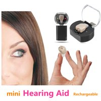 Newest Best Rechargeable Adjustable Mini In Ear Hearing Aids Kit Digital Sound Amplifiers with Volume Tone Control Voice Assisted Listening Device