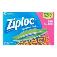 Ziploc Zipper Snack Bags, 280 Ct