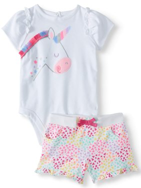 Graphic Bodysuit & Knit Denim Shorts, 2pc Outfit Set (Baby Girls)