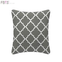 Throw Pillow with Insert Indoor Outdoor 18 by 18 Inches Decorative Square Cushion Cover Pillow Sham (Grey, Quatrefoil Lattice) for Couch Bed Sofa Patio by FBTS Prime