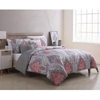 Better Homes & Gardens Gray Medallion Reversible 5-Piece Comforter Set, Full/Queen, Coral