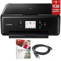 Canon PIXMA TS6120 Wireless All-in-One Compact Printer with Scanner & Copier Black (2229C002) Corel Paint Shop Pro X9 Digital Download, High Speed 6-foot USB Printer Cable & 1 Year Extended Warranty