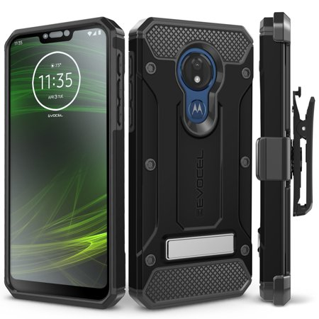 Motorola Moto G7 Power Case, Evocel [Glass Screen Protector] [Belt Clip Holster] [Metal Kickstand] [Full Body] Explorer Series Pro Phone Case for Motorola Moto G7 Power (XT1955), Black