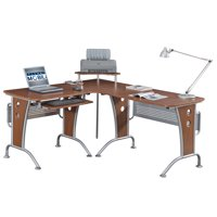 Techni Mobili Deluxe L-Shaped Computer Desk With Pull Out Keyboard Tray, Mahogany (RTA-3806-M615)