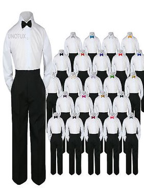 New Baby Toddler Boys Wedding Formal 3pc Set Shirt Black Pants Bow Tie Suit S-7