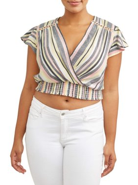 Women's Plus Size Deep V Smocked Blouse