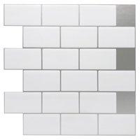 "12""x12"" Peel and Stick Backsplash Tile for Kitchen, White (10 Sheets)"
