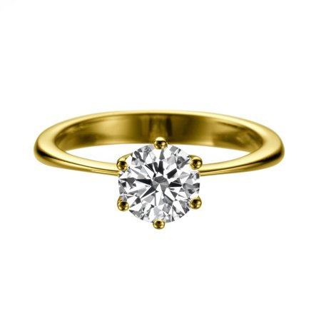 2 Carat Lab Created White Sapphire Ring Yellow Gold 14K 6 prongs Round 2 Carat Fine Prong