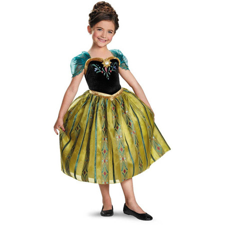 Disney Frozen Deluxe Anna Coronation Child Halloween Costume - Disney Deluxe Costumes