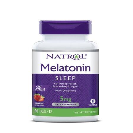Natrol Melatonin Fast Dissolve Tablets, Strawberry flavor, 5mg, 90 - Strawberry Pyramid