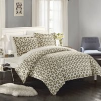 Chic Home 2-Piece Lovey Geometric Diamond Printed Reversible Duvet Cover Set, Grey Twin