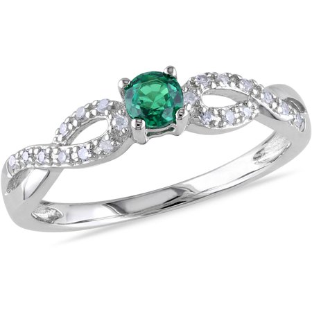 1/10 Carat T.G.W. Created Emerald and Diamond-Accent Sterling Silver Promise Ring