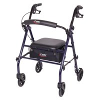 Carex Steel Rollator Walker with Seat and Wheels, Includes Back Support, Rolling Walker for Seniors