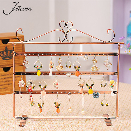 - 72 Holes Earrings Necklace Jewelry Display Metal Stand Rack Holder Organizer Stylish Appearance Excellent Workmanship