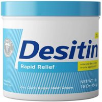 6 Pack - DESITIN Rapid Relief Diaper Rash Cream 16 oz