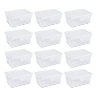 Sterilite 16 Quart Clear Stacking Storage Container Tub, 12 Pack | 16448012