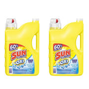 (2 pack) Sun Liquid Laundry Detergent plus OXI Stain Removers and Whiteners, Original Fresh, 188 Ounce, 117 Loads