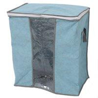 Blanket Pillows Quilts Clothes Storage Bag Organizer Container Blue 44x28x48cm