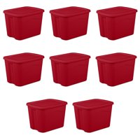 Sterilite 18 gal Medium Tote, Red, Case of 8 (Available in Multiple Colors)