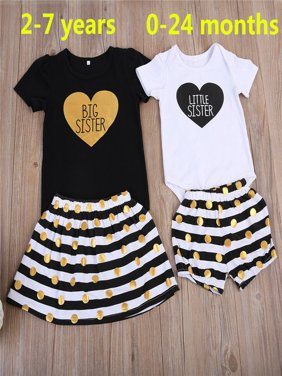 Fashion Cute Toddler Baby Girls Little Sister Cotton Romper Pants Big Sister T-shirt Dress Outfits ( Black White )