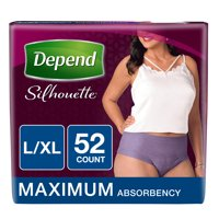 Depend Silhouette Maximum Absorbency L/XL for Women Briefs, 2 pack, 26 count