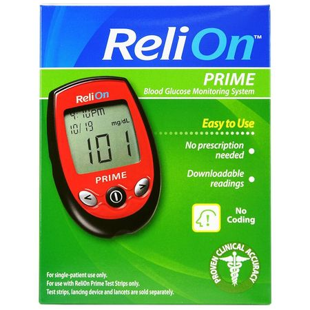 ReliOn Prime Blood Glucose Monitoring System, Red (Best At Home Glucose Monitor)