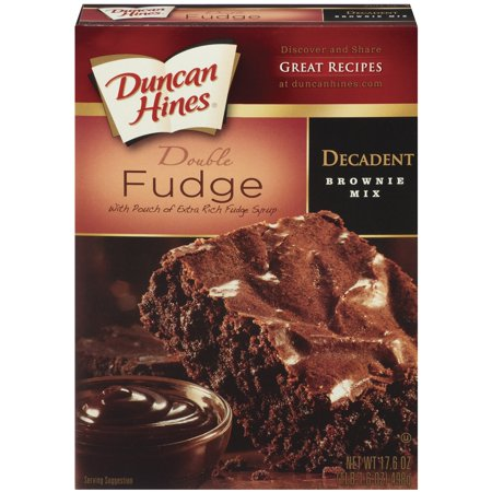 - (4 Pack) Duncan Hines Decadent Double Fudge W/Pouch of Extra Rich Fudge Syrup Brownie Mix, 17.6 oz