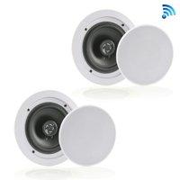 Pyle PDICBT652RD - Dual 6.5'' Bluetooth Ceiling / Wall Speakers, 2-Way Flush Mount Home Speaker Pair, 200 Watt