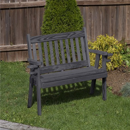 Outdoor Patio Garden Lawn Exterior Black Finish 4 Ft Amish Heavy Duty 800 Lb Mission Kiln-Dried Pine Bench With Cup Holders