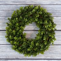 "Pure Garden 12"" Artificial UV Resistant Boxwood Wreath for the Front Door, Green"