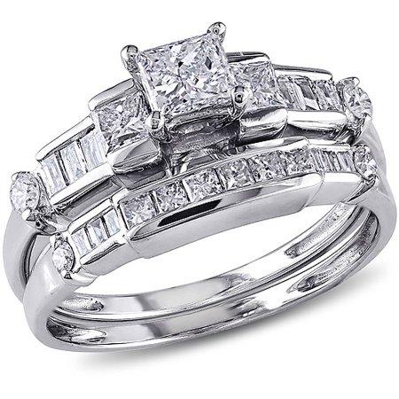 Baguette Diamond Wedding Set Setting (1 Carat T.W. Princess and Parallel Baguette- with Round-Cut Diamond 14kt White Gold Bridal Set)