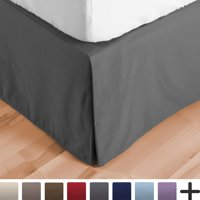 Bed Skirt Double Brushed Premium Microfiber, 15-Inch Tailored Drop Pleated Dust Ruffle, 1800 Ultra-Soft, Shrink and Fade Resistant (Queen, Grey)