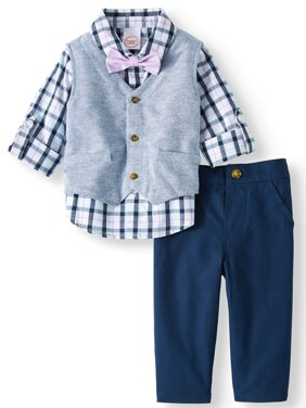 Baby Boys' Vest, Rolled Up Sleeve Woven Shirt With Bow Tie and Pants, 3-Piece Outfit Set