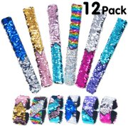 Pawliss 12 Pack Little Mermaid Magic Charm Reversible Sequin Slap Bracelets. Birthday Party Favors Supplies Gifts for Girls Kids. Pink Blue Purple