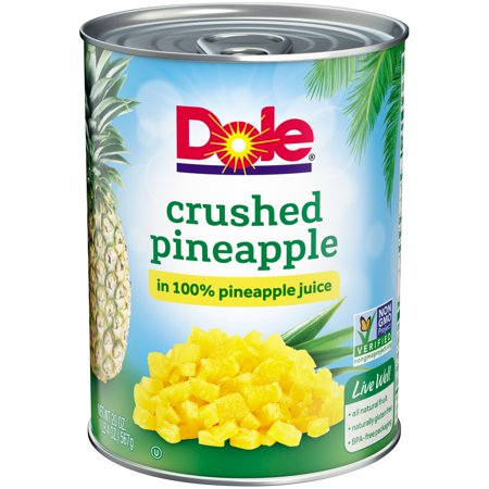 (4 Pack) Dole Crushed Pineapple in 100% Juice, 20 oz (Crushed Pineapple)