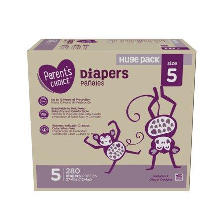 Parent's Choice Diapers, Size 5, 280 Diapers (Mega Box)