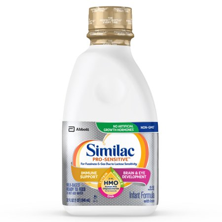 Similac Pro-Sensitive Non-GMO with 2'-FL HMO Infant Formula with Iron for Immune Support, Baby Formula 32 fl oz Bottles (Pack of