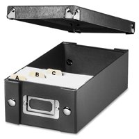 """Snap-N-Store Collapsible Index Card File Box, Black, Holds 1,100 3"""" x 5"""" Cards"""