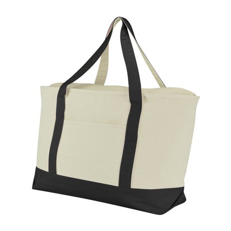 "DALIX 22"" Extra Large Cotton Canvas Zippered Shopping Tote Grocery Bag in Black"