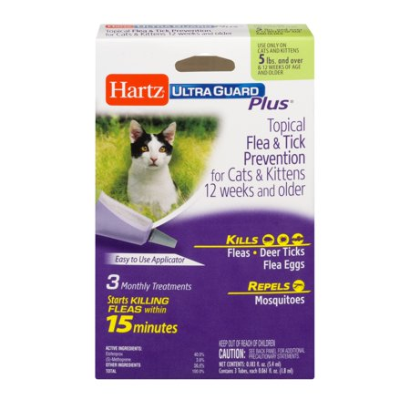 Hartz UltraGuard Plus Topical Flea & Tick Prevention for Cats & Kittens, 3 Monthly