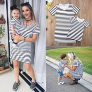 Mommy and Me Outfits Mother Daughter Matching Girl Striped Dress Family  Outfits cec6a7798c08