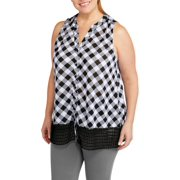 df49162202b French Laundry Women s Plus Knit Gingham Top With Crochet Bottom