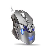 ALLCACA Mechanical Gaming Mouse Professional USB Wired Game Mouse Ergonomic 4000 DPI Wired Mouse with 7 Programmable Buttons and LED Backlight, Suitable for Laptop, PC and Computer, Gray
