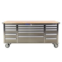 FRONTIER 72 inch Stainless Steel Utility, Tool Cabinet Organizer with 15 drawers and 1.25 inch thick wooden work surface.