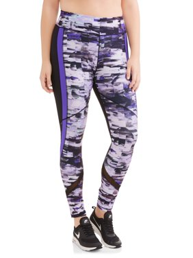 Women's Plus Size Active Full Length Printed Racing Stripe Performance Legging